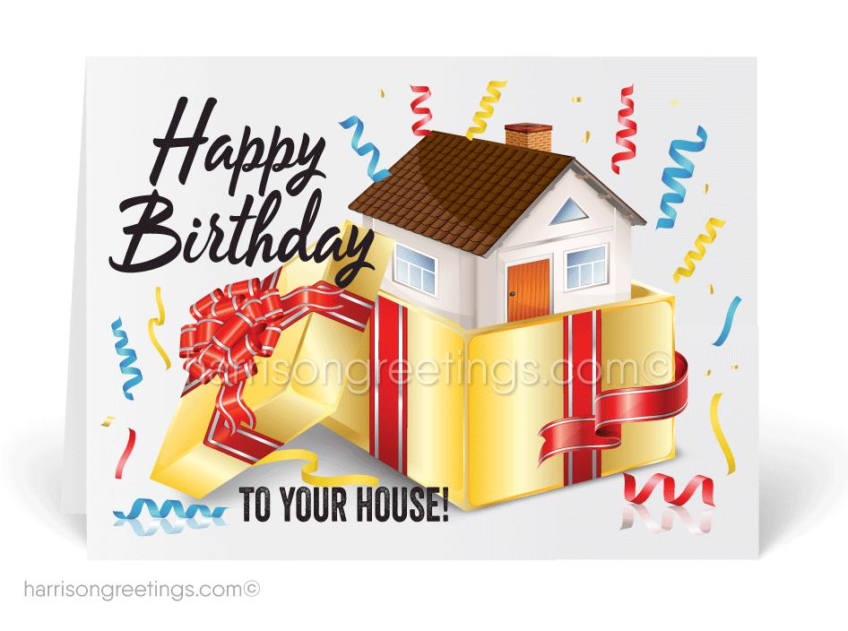 house birthday card ; 15301_happy_house_anniversary_realtor_birthday_cards