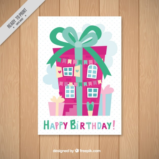 house birthday card ; house-gift-shaped-birthday-card_23-2147561341