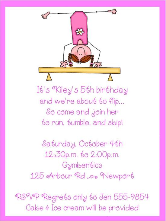Ice Cream Birthday Party Invitation Wording Gymnastic Birthday4
