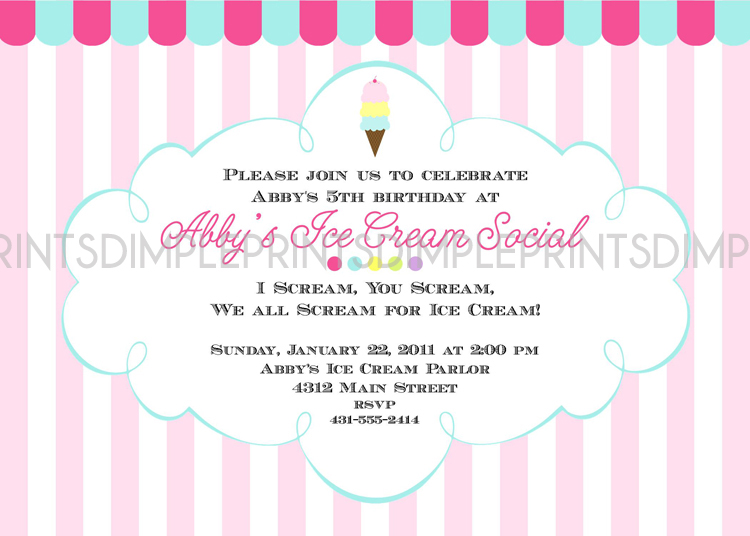 Ice Cream Birthday Party Invitation Wording Best Hy