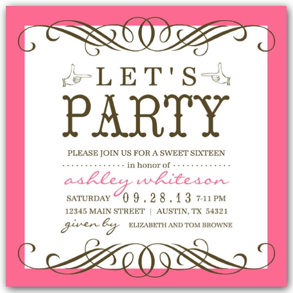 invitation card birthday party sweet seventeen ; Any-Color-Seattle-Sweet-16-Birthday-Invitations-p-604-55-1304-z