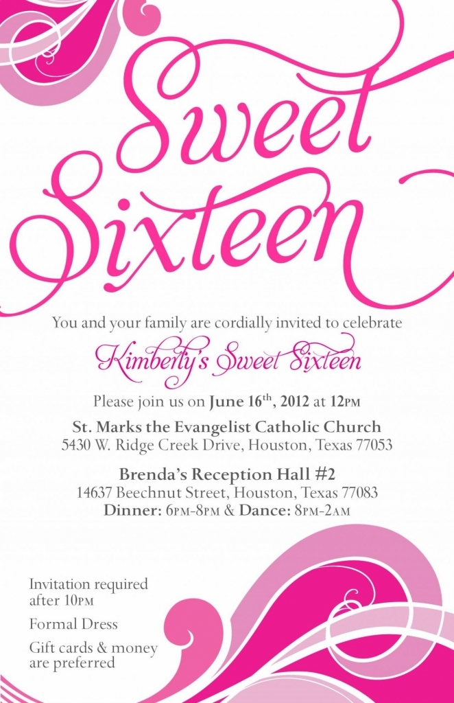 Invitation Card Birthday Party Sweet Seventeen Best Happy