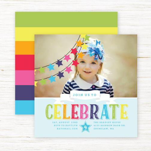 invitation for birthday party text kid ; rainbowstar_card