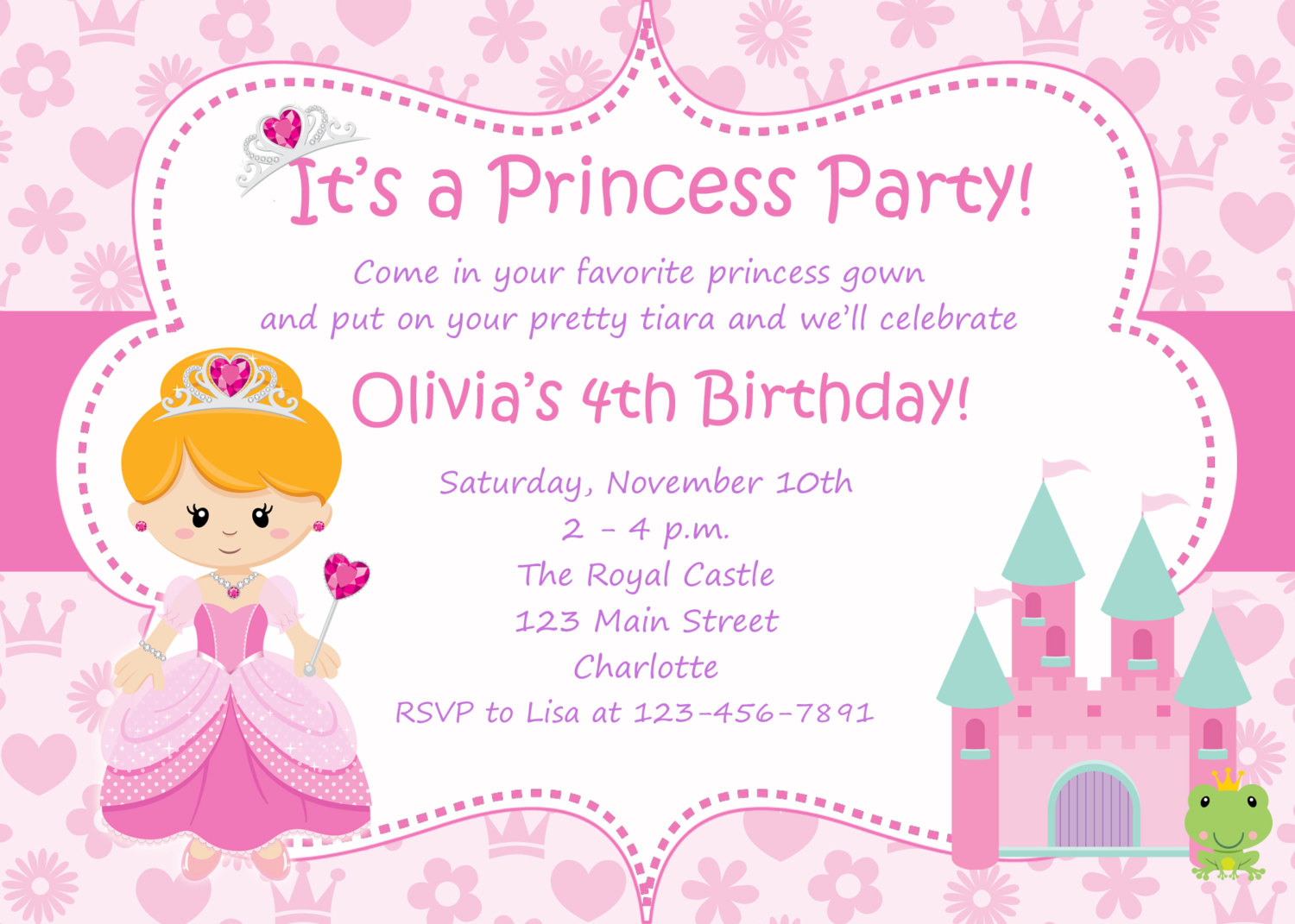 invitation for first birthday of my daughter ; princess