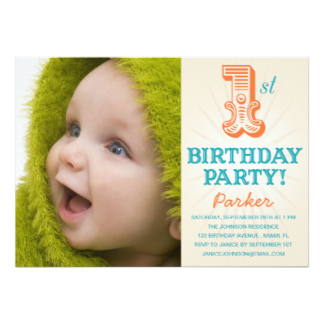 invitation for first birthday of my daughter ; teal_orange_1st_first_birthday_invitation-r67c38d317b0e40639b2a053e1ac1ca8b_zk9c4_324