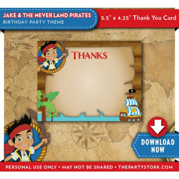 jake and the neverland pirates birthday card print ; jake-and-the-neverland-pirates-birthday-thank-you-cards