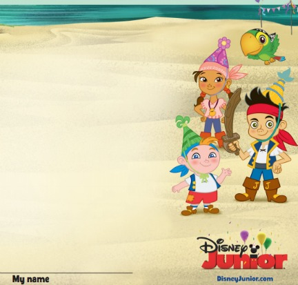 jake and the neverland pirates birthday card print ; pirate-placemat