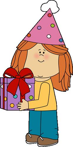 kids birthday clipart ; birthday-girl-with-birthday-gift