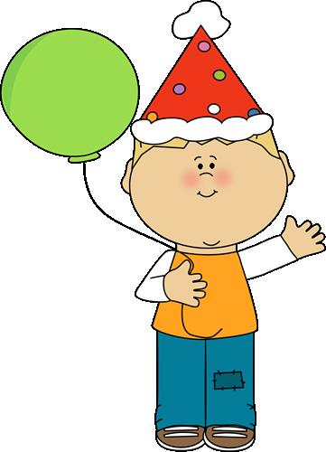 kids birthday clipart ; boy-with-birthday-balloon