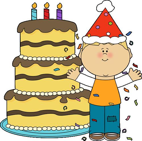 kids birthday clipart ; boy-with-birthday-cake-and-confetti