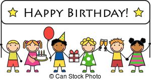 kids birthday clipart ; cartoon-kids-with-a-banner-birthday-cartoon-kids-with-gifts-and-posters-birthday-clipart-vector_csp27889458