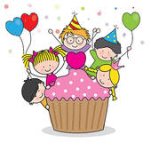 kids birthday clipart ; celebrating-birthday-party-clip-art-vector_k9960385