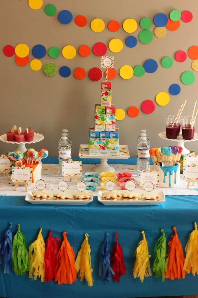 kids birthday party decoration ideas ; 11d42494a8e3acef085ed103b990316b--art-party-ideas-party-decoration-ideas