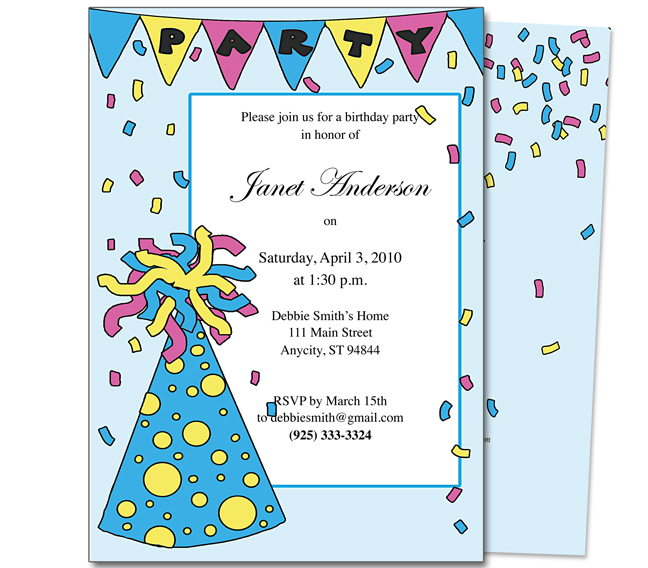 kids birthday party invitation message ; kids-party-partyhat-kids-birthday-party-invitation-template-childrens-party-invitation-wording
