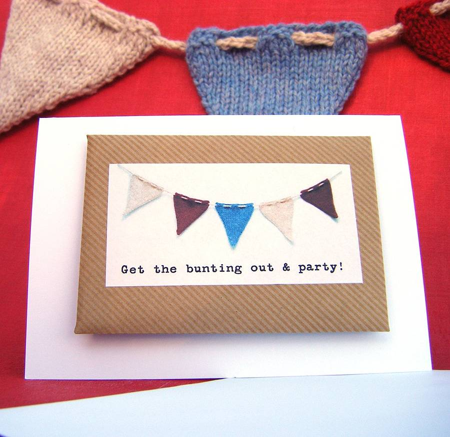 knitted birthday card pattern ; original_bunting-gift-card-with-knitting-pattern