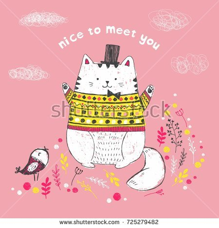 knitted birthday card pattern ; stock-vector-vector-illustration-of-cute-sketch-white-cat-with-hat-bow-wearing-a-knitted-pullover-with-ethnic-725279482