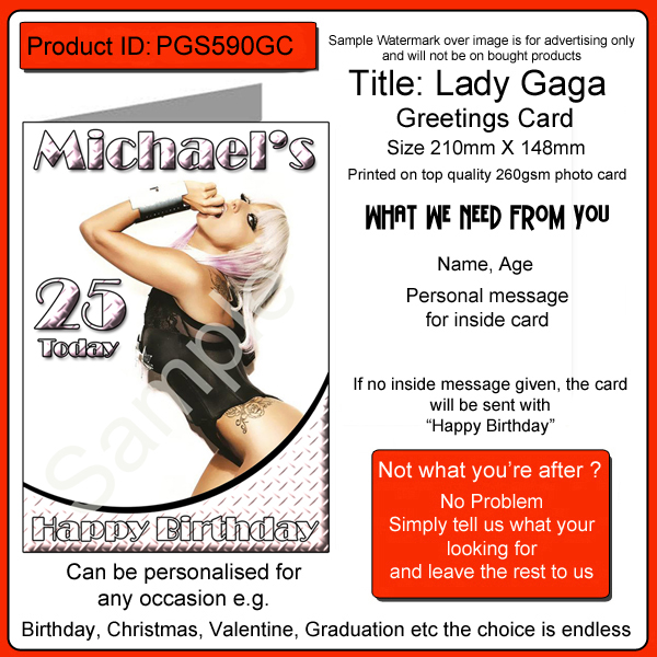 lady gaga birthday card ; lady-gaga-birthday-card-a5-personalised-pgs590gc-2311-p