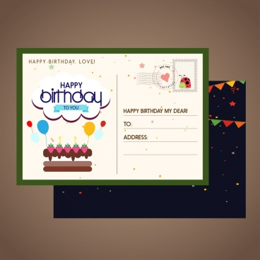 libreoffice birthday invitation template ; birthday_postcard_template_classical_colored_decoration_6829540