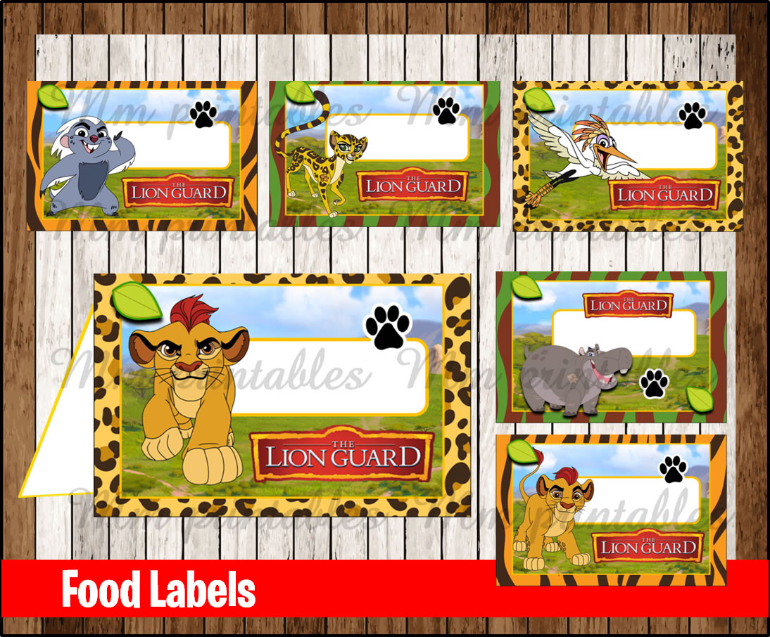 lion guard birthday card ; Food-Labels-1