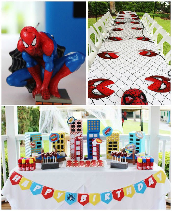 little boy birthday themes ; Spider-Man-Themed-Birthday-Party-Fit-Superhero