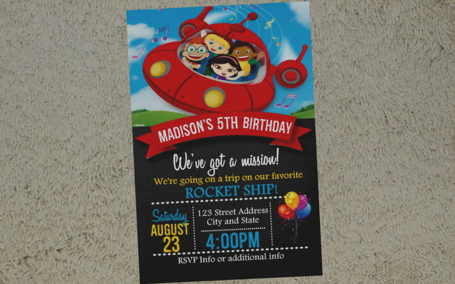 little einsteins birthday invitation template ; wonderful-of-little-einsteins-birthday-invitations-invitation