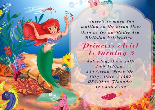 little mermaid birthday invitation template ; how-to-create-little-mermaid-birthday-invitations-templates-with-charming-design