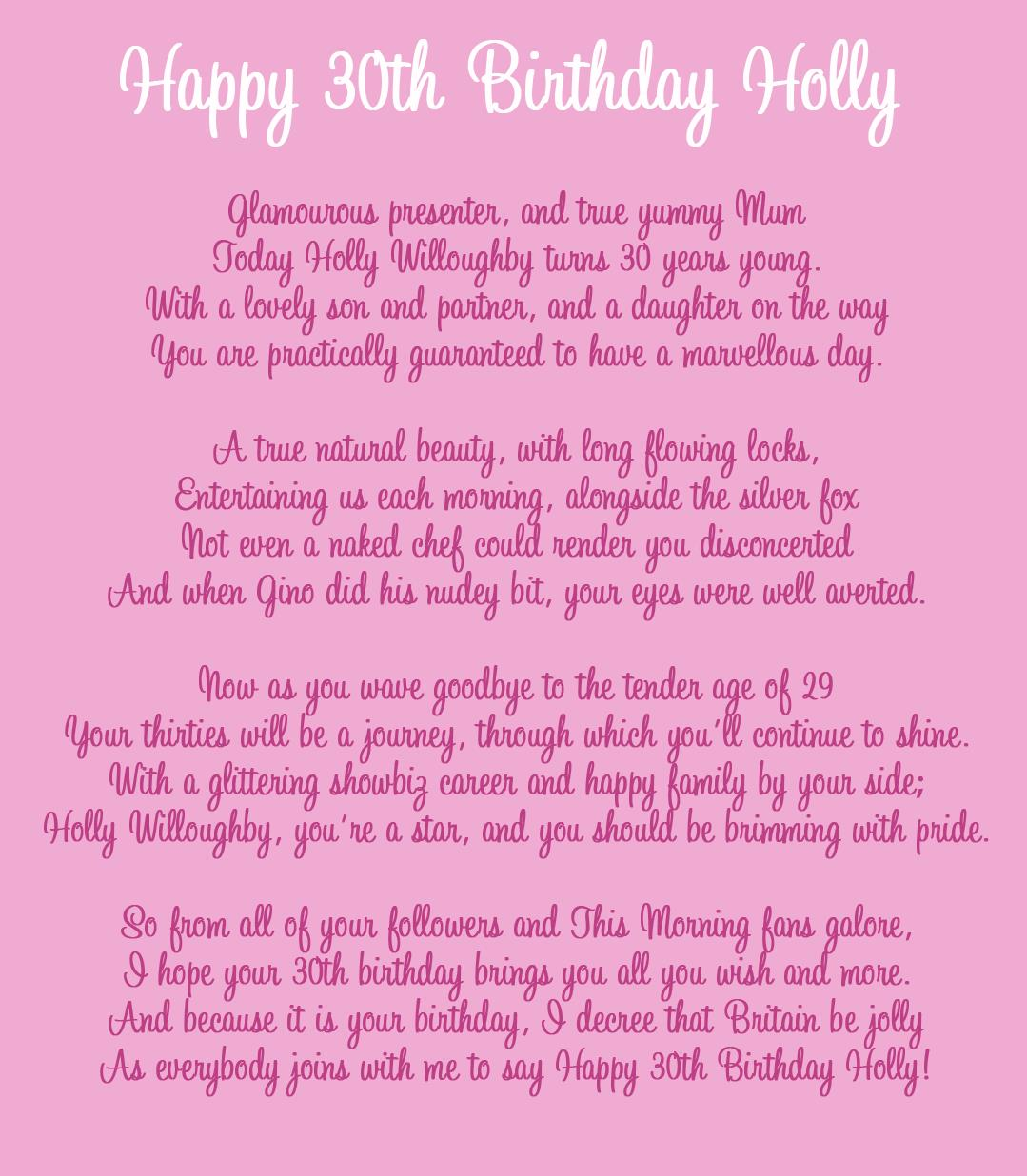 long happy birthday poems ; Holly-Willoughby-Poem