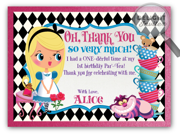 mad hatter birthday card ; Alice_in_wonderland_thank_you_cards
