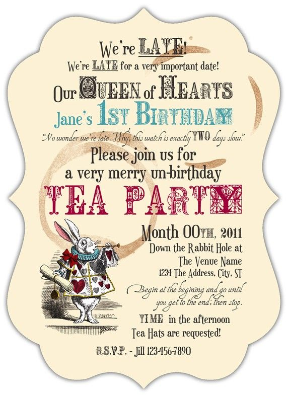 mad hatter tea party birthday invitation wording ; Beautiful-Mad-Hatter-Tea-Party-Invitations-For-Additional-Party-Invitation-Template
