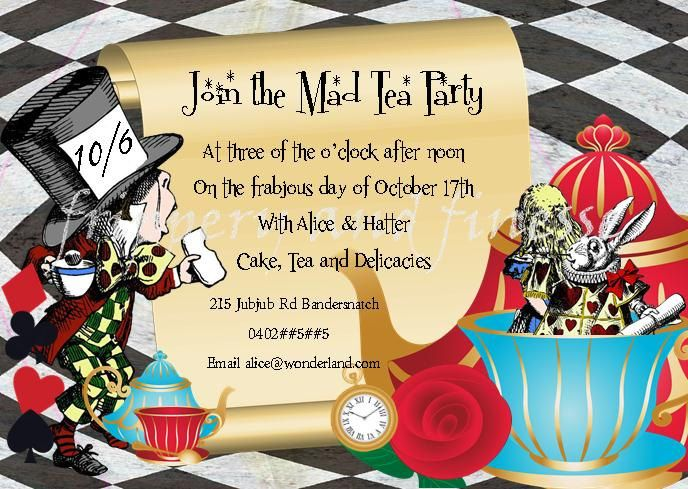 mad hatter tea party birthday invitation wording ; a325101f5f0d51b4fb24285f02015075--mad-hatters-tea-party-mad-hatter-tea