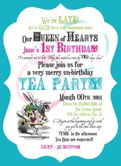 mad hatter tea party birthday invitation wording ; bb524dca9d6970e5db35294d05fcd086--tea-party-invitations-invitation-ideas