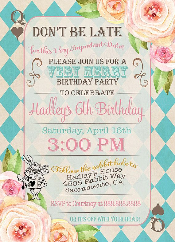 mad hatter tea party birthday invitation wording ; best-25-invitation-card-birthday-ideas-on-pinterest-kids-invitation-for-cards-party