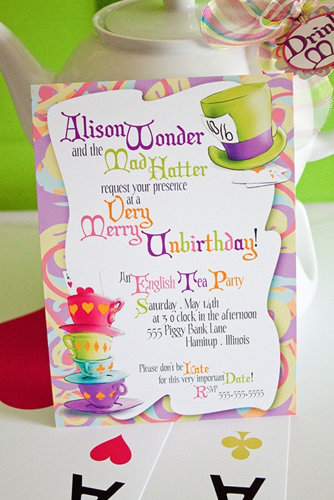 mad hatter tea party birthday invitation wording ; dba6990a6c9fe31595f9b409966ecbcf--personalized-invitations-wonderland-party