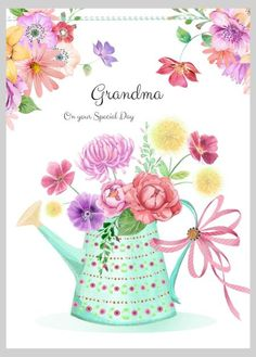 mark hanton birthday card ; mark-hanton-birthday-card-0158becca7f172e363b070fb44231ef6-watering-cans-flowers-garden