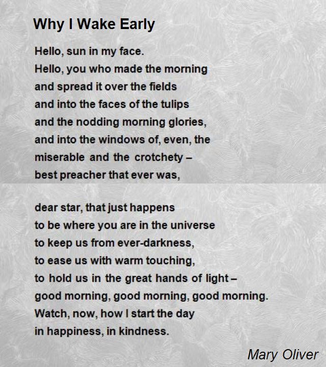 mary oliver birthday poem ; why-i-wake-early