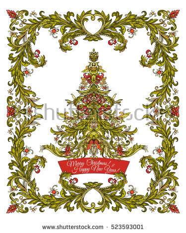 medieval birthday greeting ; stock-vector-decorative-christmas-tree-in-the-medieval-style-frame-good-for-greeting-card-for-birthday-523593001