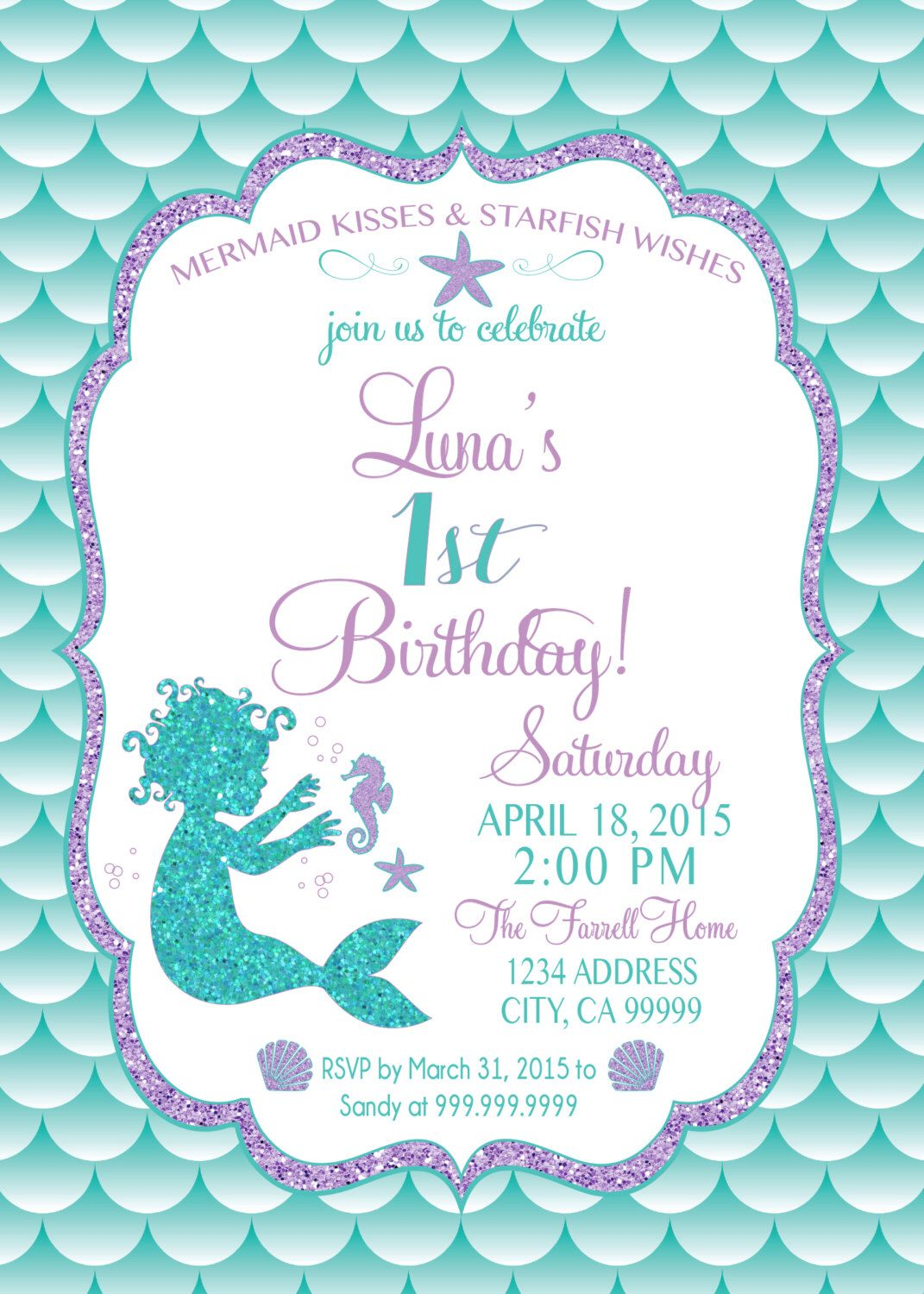 mermaid birthday invitations with picture ; 40daaf5dee7a0ce013a85917ff1a1af6