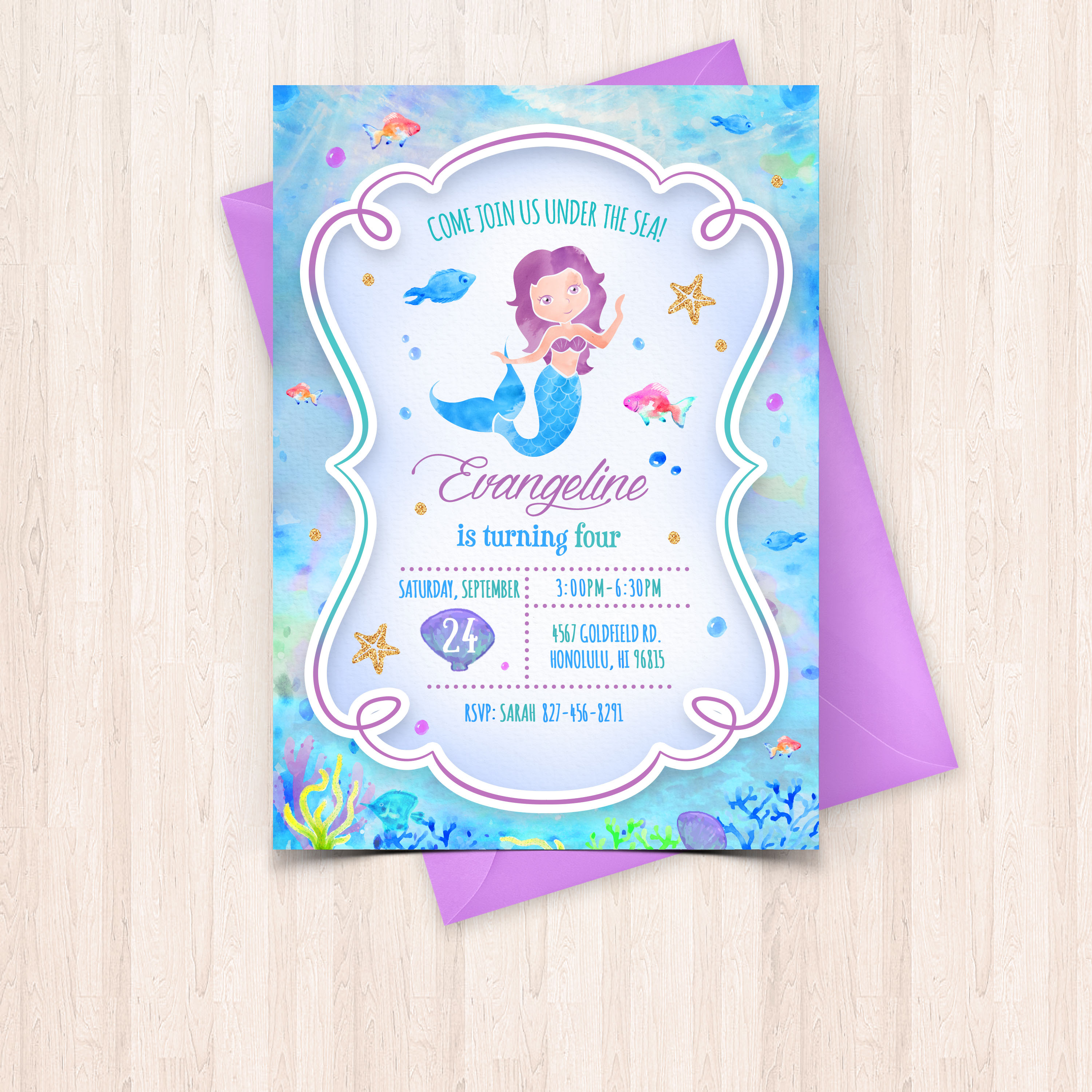 mermaid birthday invitations with picture ; 6-1