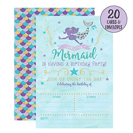 mermaid birthday invitations with picture ; 91YCjB-Ge3L