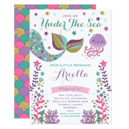 mermaid birthday invitations with picture ; Mermaid-Birthday-Invitation-Vintage-Mermaid-Party-Invitations