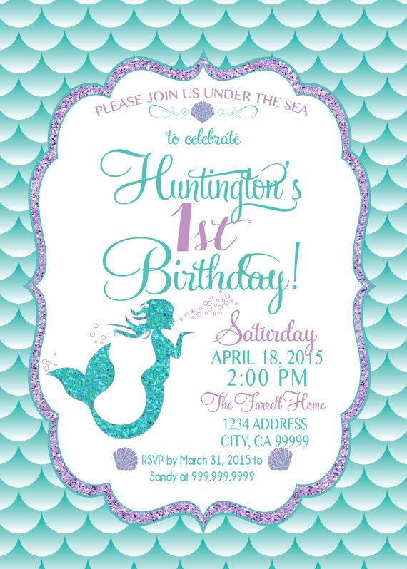 mermaid birthday invitations with picture ; create-own-mermaid-birthday-invitations-with