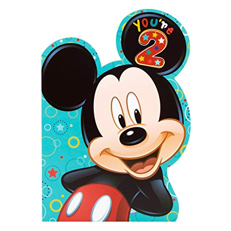 mickey mouse 2nd birthday card ; 91gIjdbN5kL