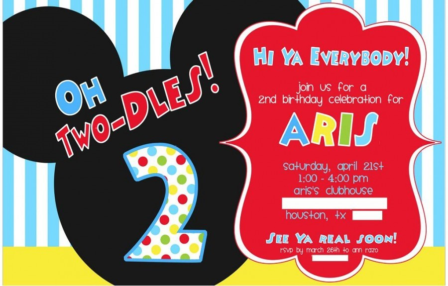mickey mouse 2nd birthday card ; Stunning-Mickey-Mouse-2Nd-Birthday-Invitations-To-Design-Birthday-Invitation-Cards