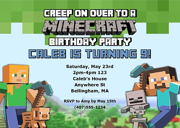 minecraft birthday background ; Stylish-Minecraft-Party-Invitations-As-An-Extra-Ideas-About-Printable-Party-Invitations