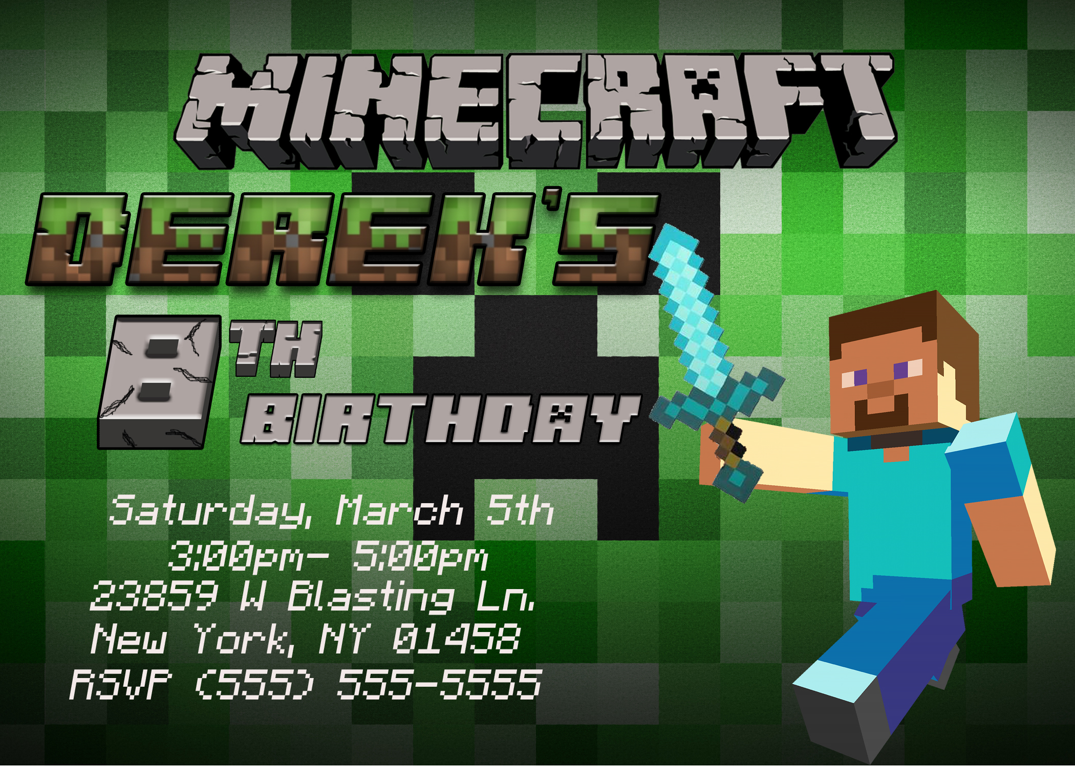 minecraft birthday background ; minecraft-1-birthday-invitation