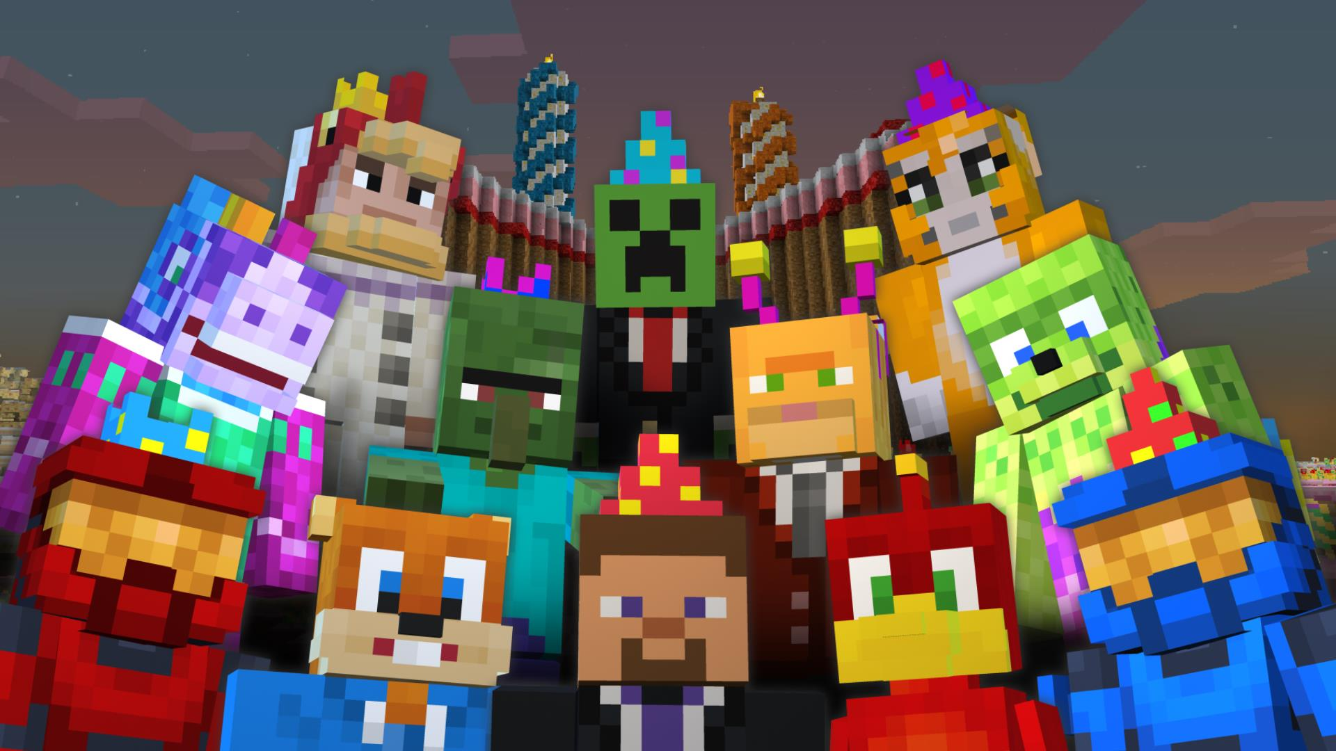 minecraft birthday background ; skin