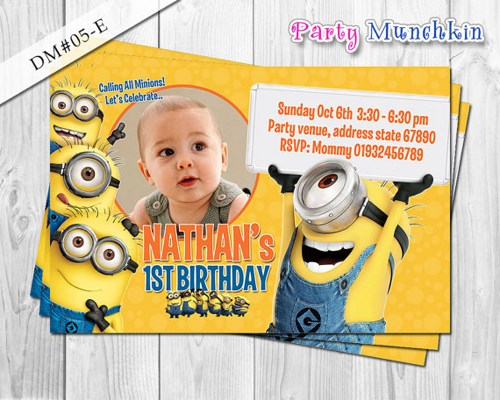 minions 1st birthday invitation templates ; personalized-minion-birthday-invitations-and-the-invitations-of-the-Birthday-Invitation-Templates-to-the-party-sketch-with-cool-idea-5