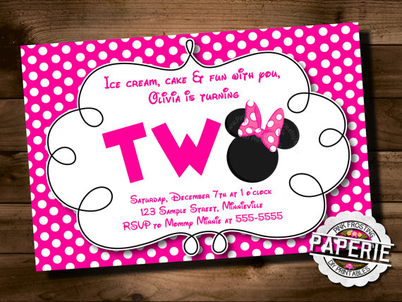 Minnie Mouse 2nd Birthday Party Invitation Wording Attractive 2Nd