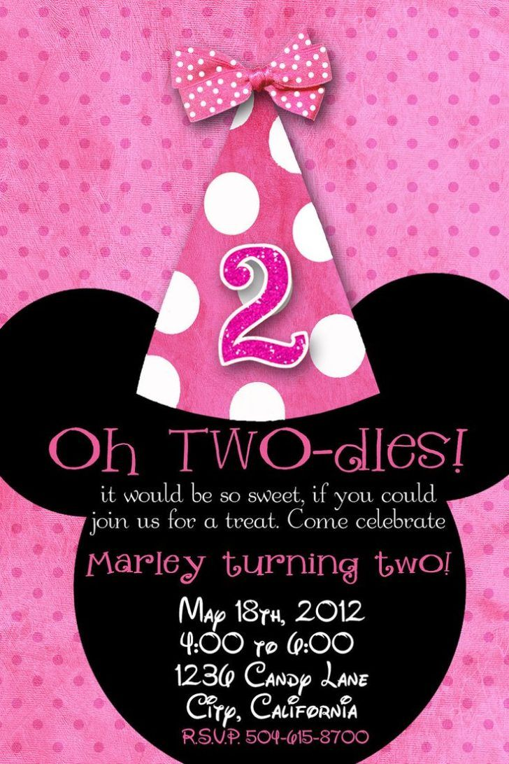 minnie mouse 2nd birthday party invitation wording ; a500100d230ed49914d65745ba05f107
