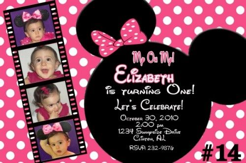minnie mouse birthday invitations personalized photo ; 11d887075156457a881a1bb895e7d9ae